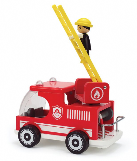 Hape Wooden Fire Truck with Fireman